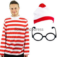 LONG SLEEVE FUNNY COSTUME RED WHITE STRIPED TOP & HAT & NERD GLASSES FANCY DRESS