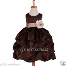 BROWN/CHAMPAGNE PICK UP WEDDING PARTY FLOWER GIRL DRESS 6M 12M 18M 2 4 6 8 10 12