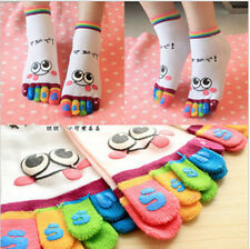 5 pairs Colors Lady Woman Girl Smile Five Fingers Trainer Toe Ankle Sport Socks