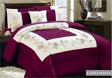 Aubergine & Ivory Quilted Embroidered Bedspread Throw + 2 Pillow Shams