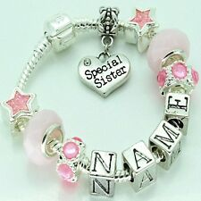 Girls Childrens Personalised ANY NAME Pink Charm Bracelet Beads Jewellery Gift