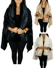 WOMENS GYPSY FAUX FUR OVERSIZED WATERFALL DRAPED SWIRLY PONCHO LADIES CAPE COAT