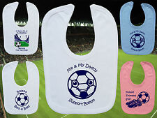 BOLTON WANDERERS Football Baby Bib- White/Blue/Pink- Personalised Gift- Boy/Girl