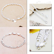 WHOLESALE FASHION LUXURY 925STERLING SILVER BRACELET BANGLE CHAIN JEWELRY GIFT