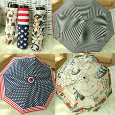 2014 Fashion New Summer Useful Sun/Rain Umbrella Map Flag Stripped Parasol
