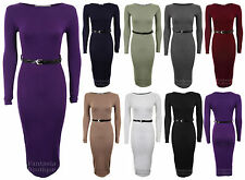 Bodycon Dress Jersey Belted Long Sleeve Stretchy Fitted Size 6-12 New