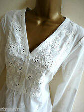 NEW LAURA ASHLEY TUNIC DRESS SHIFT TOP WHITE COTTON EMBROIDERED SIZE 10 - 20