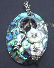 SALE Big 35*45mm Oval Blue Multicolor natural Abalone Shell Pendant-pen235
