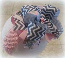Gray Pink Chevron SMALLER version Over the Top Hair Bow Boutique OTT Pageant BIG