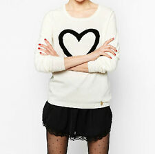 Fashion Women Heart Pattern Jacquard Knitted O-neck Long Sleeve Pullover Sweater