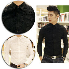 Punk Men Skull Star Lace Front Long Sleeve Quality Casual Dress Skinny Shirt Top
