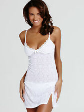 Ann Summers Womens Baroque Flock Chemise White Sexy Nightdress Nightie Lingerie