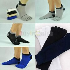 1/5 Pairs Men's Soft Handfeel Pure Cotton Sports Five Seperate Finger Toe Socks