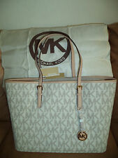 $278 Michael Kors Authentic Jet Set Travel MD Vanilla Multifunction Tote Handbag