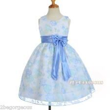 Floral Pattern Flower Girl Spring Summer Dress Wedding Party Blue Size 4-8 SD013