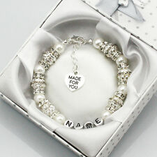 New Personalised Girls baby name Birthday wedding Gift Charm Bracelet With Box