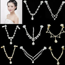 Women Forehead Band Hair Chain Headpiece Dangle Rhinestone For Wedding Bridal