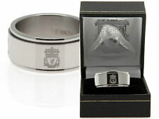 LIVERPOOL FC MENS CLUB CRESTED STAINLESS STEEL SPINNER BAND RING IN GIFT BOX