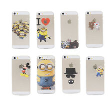 New cute cartoon Transparent PC Phone Cover case for apple iphone 5 5G 5S