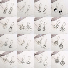 Retro Unique Genuine Handmade Tibetan Silver Drop Dangle Earrings Stud Jewelry
