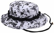 City Digital Camouflage Boonie Hat - Black & White Camo Bucket Hats w Chin Strap