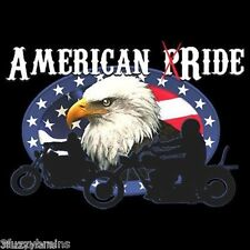 American Pride Patriotic Ride Eagle and Flag Biker Graphic Black T Shirt