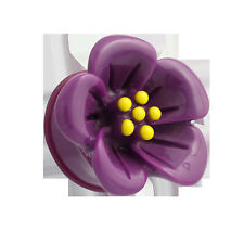 """New Acrylic Single Flared """" Hibiscus Flower  Purple  Plugs"""" ( 2 G to 1"""" inch )"""