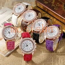 Women Crystal Decorated Racing Style Analog Quartz Wrist Watch PU Leather Gift