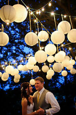 "10X Round White Paper Lanterns 8"" 10"" 12"" Wedding Party w/ LED Light Decoration"