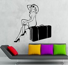 Wall Stickers Vinyl Decal Sexy Girl Travel Suitcase Tourist Vacation (ig1793)