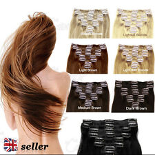 "7PCS 15"" 18"" 20"" 100% REMY REAL HUMAN HAIR PREMIUM CLIP IN EXTENSIONS FULL HEAD"