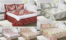 Vintage Quilted Patchwork Reversible Bedspread Throw Over Comforter Bedding