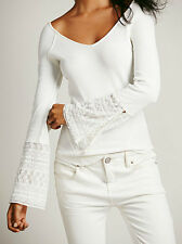 NWT Free People Juliet Cuff Thermal Top Shirt  Ivory  S M L