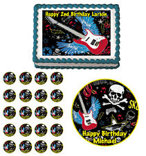 BOY ROCK STAR GUITAR SKULL  Edible Party Birthday Cake Topper Cupcake Decoration