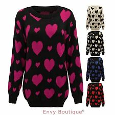 WOMENS LADIES HEARTS PRINT KNITTED WINTER JUMPER SWEATER TOP PLUS SIZES 16-26