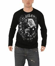 Iron Maiden Number Of The Beast Grey Tone Official Mens New Long Sleeve T Shirt