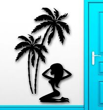 Wall Stickers Vinyl Decal Sexy Girl Tropical Palm Beach Relax Vacation (ig1826)