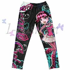 New Girls Kids Monster High Skinny Pencil Leggings Trousers 6-16Y Pants Clothes