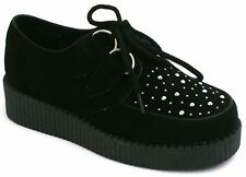 Children's Flat Platform Wedge Lace Up Creepers Studs Punk Goth Kids Shoes Size