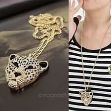 Vogue Tiger Leopard Necklace Rhinestone Crystal Head Long Chain Necklace Pendant