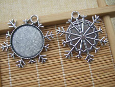 25mm Anti-Silver Round Snowflake Picture Frame Pendant Blank Setting for Cameo