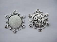 25mm round Snowflake Antique Silver Picture Frame Charm Pendant Blank for Cameo