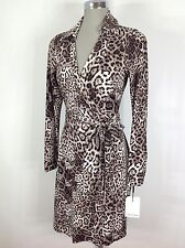 Calvin Klein NWT Elegant Wrap Dress Animal Print Design Long Sleeves a Must Have