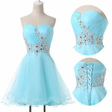 STOCK NEW Beaded Short Party Prom Evening Cocktail Bridesmaid Dress Wedding Gown