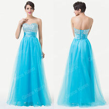 LONG Strapless Beaded Sequin Wedding Party Dresses Gown Prom Ball Evening Dress