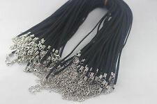 "20/50/100pcs Black Faux Suede Flat Leather Necklace Cord 17"" with Clasp Chain"