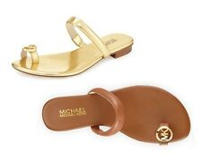 MICHAEL KORS Nora Toe Thong Leather Sandals LUGGAGE GOLD Sz 5 6 7 8 9 NEW IN BOX
