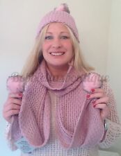 New Ladies Womens Girls Dusky Pink Hat & Scarf Set One size fits