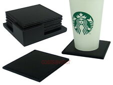 6 pcs 10cm Square Leather 0.5cm Thick Coaster Set with Holder