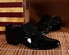 Mens dress formal  patent leather canvas Casual party black Wedding Office shoes